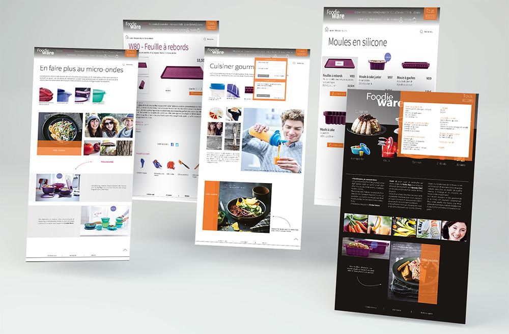 Maquettes de pages: accueil, rubrique, sous rubrique, produit