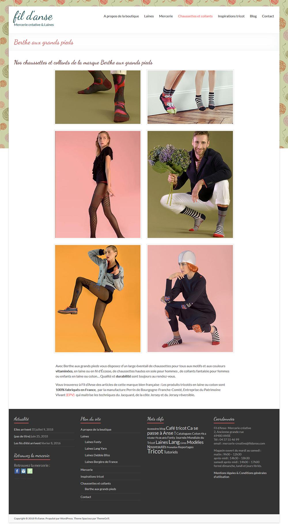 Page catégorie chaussettes